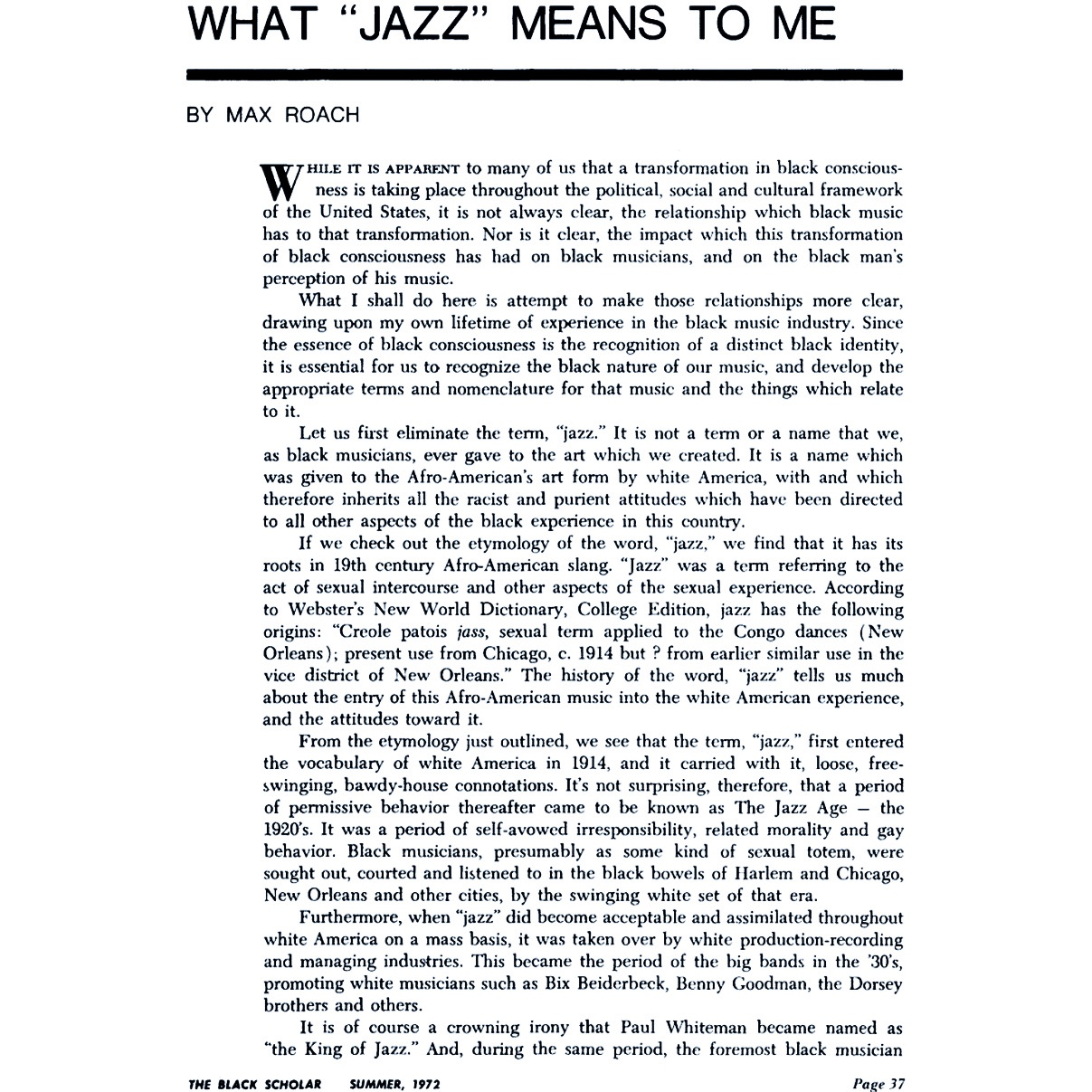 "-What ""Jazz"" means to me- by Max Roach (excerpt)"